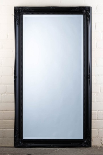 Wide Full Length Tudor Ornate Mirror in Black