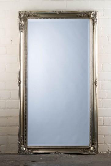 Wide Full Length Tudor Ornate Mirror in Silver
