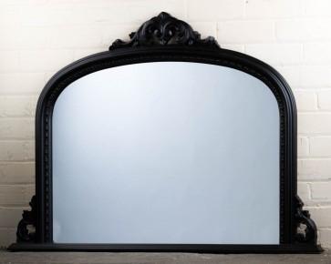 Black Ornate Over Mantle Mirror