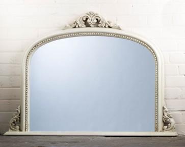 White Ornate Over Mantle Mirror
