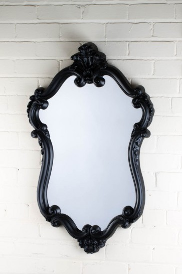 Ornate Shaped Small Black Over Mantle Mirror