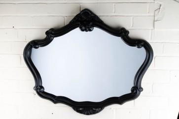 Ornate Shaped Wide Black Over Mantle Mirror