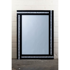 Deluxe Frameless Black Crystal Mirror
