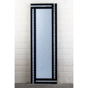 Deluxe Frameless Black Crystal Full Length Mirror
