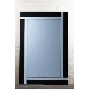 Frameless Black Stripe Mirror