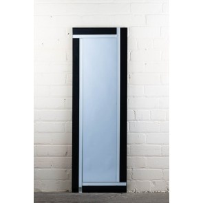 Frameless Black and Clear Full Length Mirror