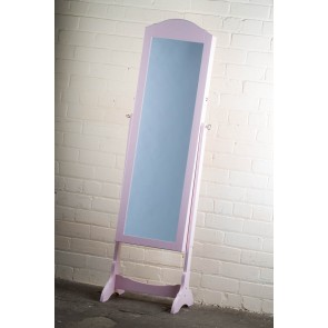 Jewellery Cabinet Cheval Mirror in Pink
