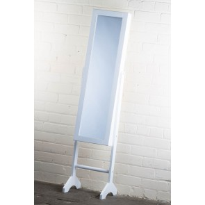Jewellery Cabinet Cheval Mirror in White