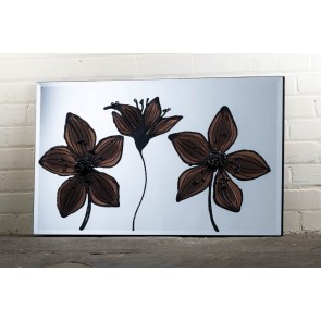 Liquid Art Range Brown Flower Mirror