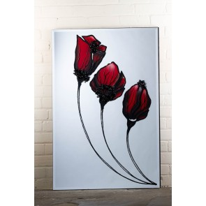 Liquid Art Range Red Flower Mirror