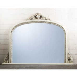 White Ornate Over Mantle Mirror