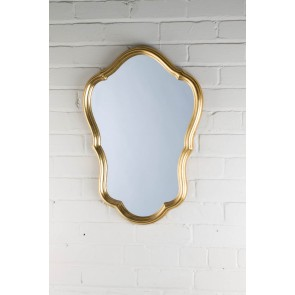 Ornate Shaped Small Gold Over Mantle Mirror