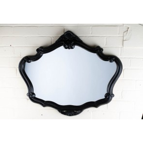 Ornate Shaped Wide Black Over Mantle Mirror