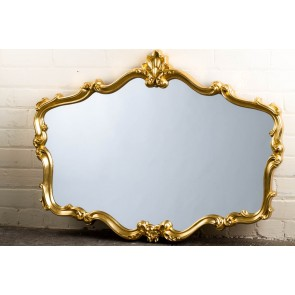 Ornate Shaped Wide Gold Over Mantle Mirror