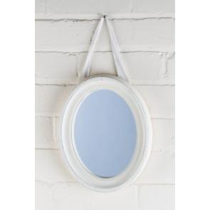 Petite Range White Oval Mirror