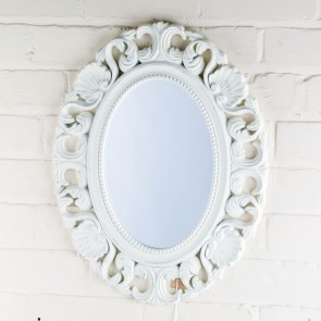 Ornate Oval Victorian Range White Mirror